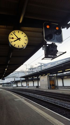 Clock Time Railroad Station Rail Transportation Old-fashioned Instrument Of Time No People Railroad Station Platform Clock Face Minute Hand Steam Train Outdoors Day Gare Cornavin Geneve, Switzerland