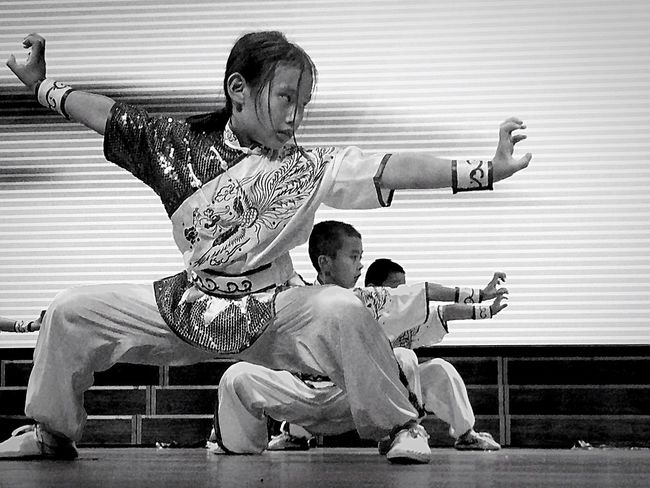 Chinese Kungfu Chinese Martial Arts Chidren Exercise Black & White Black And White Photography Wonderful Lovely Earnest Walking Around The City  Art Chinese Culture