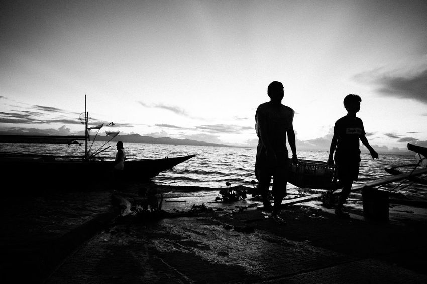 Two People Silhouette People Full Length Adult Beach Togetherness Men Sea Water Adults Only Only Men Standing Nature Nautical Vessel Sky Outdoors Day Young Adult Blackandwhite Eyeem Philippines The Week On EyeEm