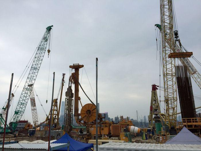 Cranes Gallore Hong Kong Construction Site Taking Photos IPhoneography