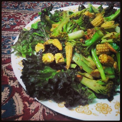 Green. Green Salad Motherscooking Preparation  babycorn dryfruits yum foodporn instayum instapic instafood delicious broccoli veggies 100happydays