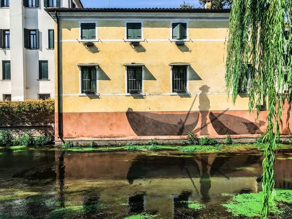 Canal Treviso Buranelli ShotOnIphone Painting Building Exterior Built Structure Architecture Window Building Reflection Day House City Sunlight Plant Residential District Outdoors Water Nature Tree Green Color Wall No People