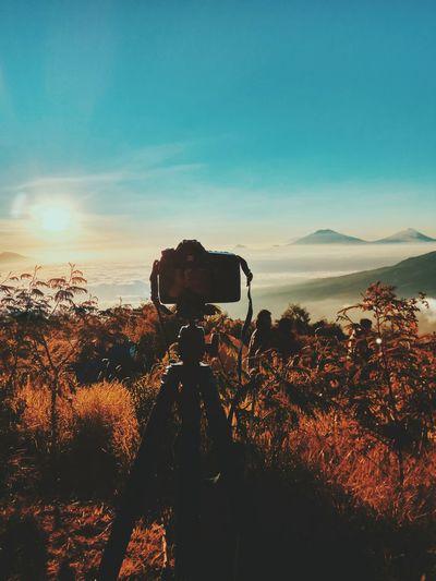 Ma gear.. Sunset Photography Themes Silhouette Technology No People Camera - Photographic Equipment Sky Nature Photographing Landscape Beauty In Nature Outdoors Tree Day Astronomy Irrigation Equipment Travel Space Canonphotography Canon