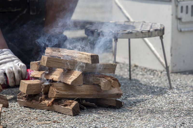 Cropped Image Of Person Burning Firewood