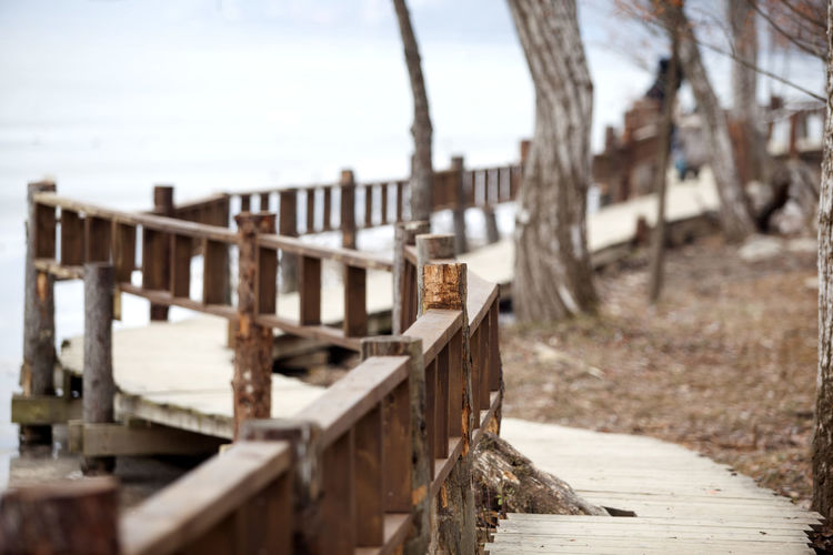 Abandoned Bukhangang Damaged Day Deterioration Fence Fences It's Cold Outside Leading Log Messy Nami Island Narrow Obsolete Old Railing Railings Riverside Ruined Stack Walkway Wall Wood Wood - Material Wooden