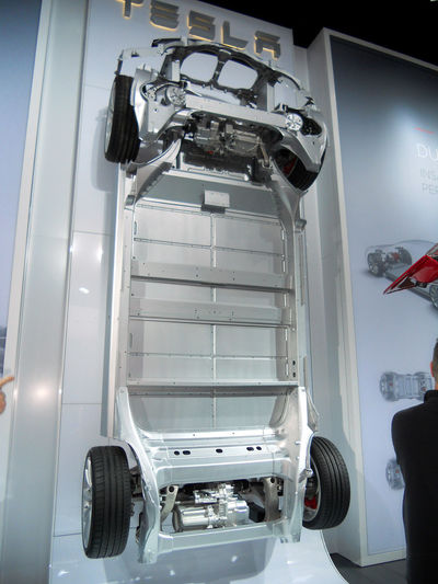 Tesla Model S chassis on display in Cobo Hall, Detroit, Michigan. Automobile Detroit Auto Show North American International Auto Show Telsa Auto Show Display Tesla Tesla Model S Tesla Motors Transportation