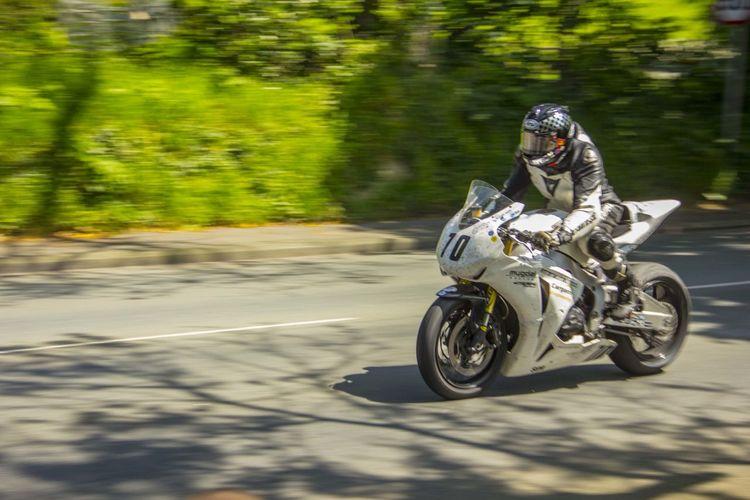 Isle Of Man TT 2014, approaching Ballacraine corner. DSLR Motorbike