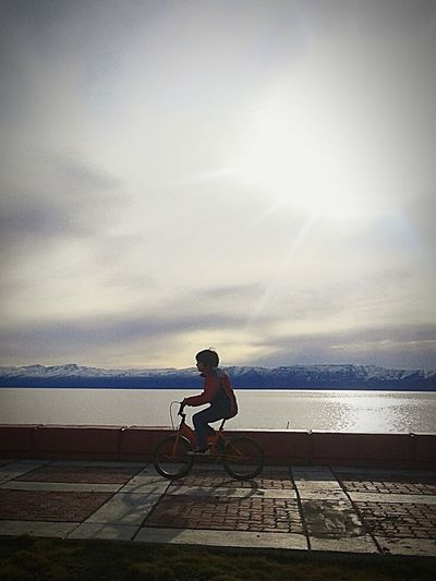 Capturing Freedom Mountains Child Winter Bike Lake View