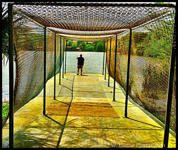 Sculptured cage of linked human figures Laguna Gloria Austin Texas Sculpture