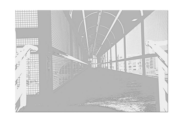 Catwalk @ Train Station 3 Jack London Square Oakland Amtrak Port Of Oakland, Ca Owns Downtown Lines: Capital Corridor,Coast Starlight,San Joaquin Tracks Owned By Union Pacific Black & White Black And White Black And White Collection  Black And White Photography Pattern Pieces Geometric Patterns Notepaper Edit Overpass Overpass View Arched Architecture