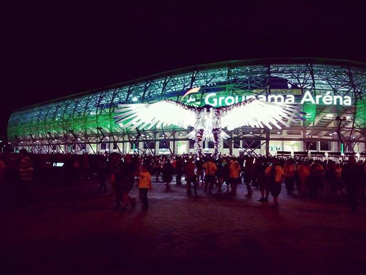 Groupamaarena Ferencváros FTC  Stadium Matchday Football Win Green Eagle Statue Kilencbőlkilenc