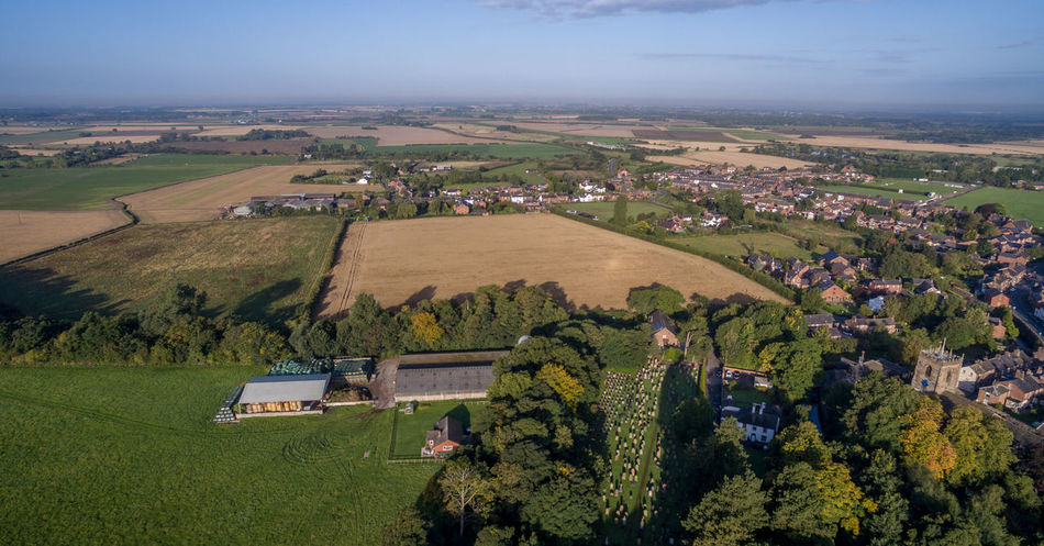 Early morning view over Croston looking south Aerial View Agriculture Beauty In Nature Countryside Cultivated Land Day English Village Farm Field Grave Stone Shadows Green Green Color Growth Landscape Majestic Nature Outdoors Plant Rural Scene Scenics Sky Tranquil Scene Tranquility Tree Wide Shot