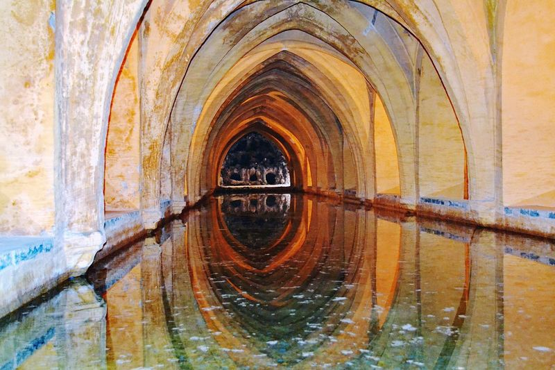 In the tunnels Stone Wall Old Buildings Inside The Building Historical Building Reflections In The Water In The Tunnel Stone Material Water Reflections Water Tunnel Day Building Exterior Wall Close-up Reflection Wall - Building Feature Geometric Shape