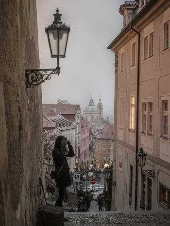 Architecture Dream Kleinstadt Narrow Prague Skyline Winter Building Dawn Snow Street