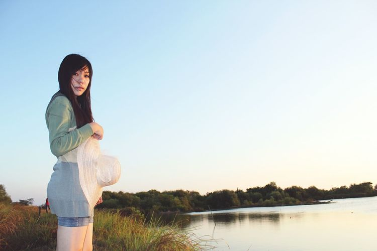 One Person Sky Lake Young Adult People Beauty Summer Outdoors Standing Long Hair Softlight  Photosession Casual Clothing Eyeemphotography Story Behind The Picture Mystories Mangroveforest Story Photography Low Angle View Clearsky Photoshoot Photography Mangrove Area