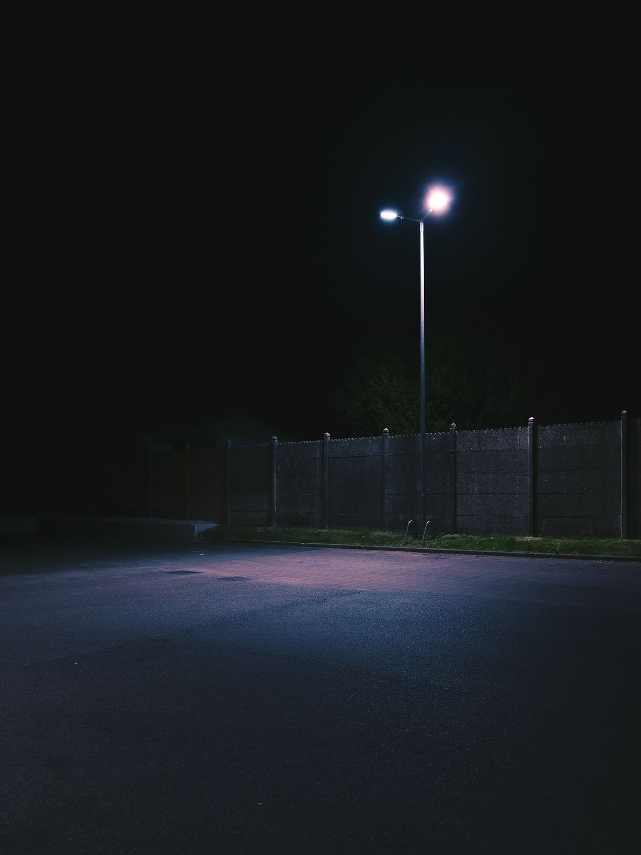 Empty road at night