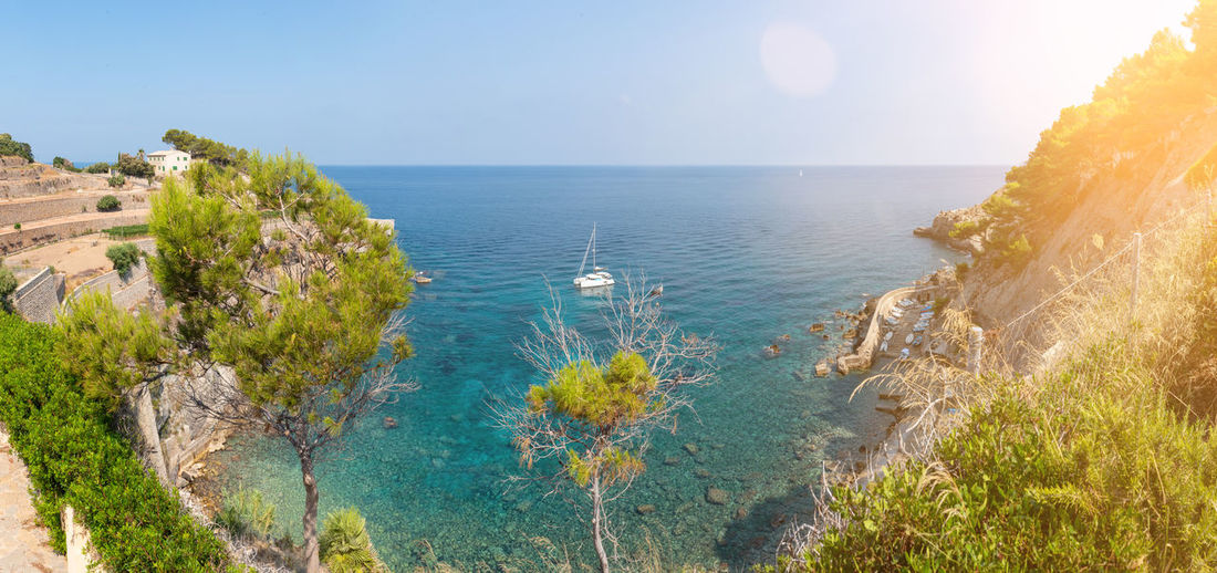 Coastline Mallorca Balearic Islands Bay Of Water Beach Beauty In Nature Blue Day High Angle View Horizon Horizon Over Water Idyllic Land Nature No People Outdoors Plant Scenics - Nature Sea Sky Tranquil Scene Tranquility Tree Turquoise Water Water
