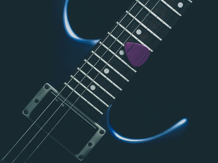 blue guitar Arts Culture And Entertainment Black Background Close-up Electric Guitar Guitar Ibanez Indoors  Music Musical Instrument Musical Instrument String No People Studio Shot Technology