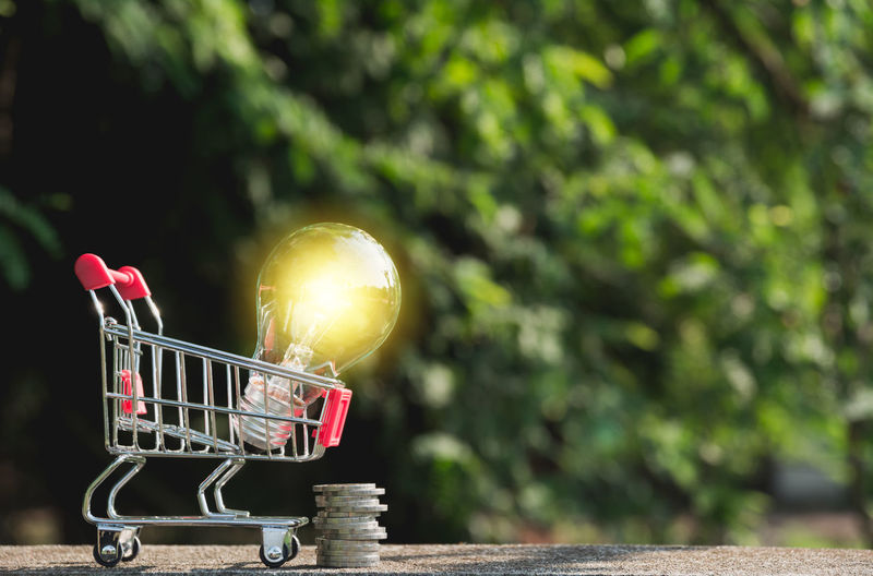 Energy saving light bulb with coins and shopping cart for saving, financial and shopping concept. Consumerism Day Focus On Foreground Nature No People Outdoors Shopping Shopping Cart Sunlight