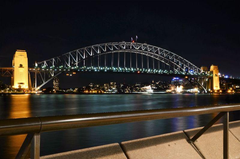 Illuminated Sydney Harbor Bridge Against Sky At Night