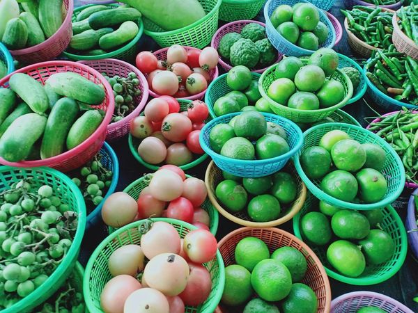 Vegetable Lamon ผัก พริก มะเขือ Fruit Market Basket Retail  Business Finance And Industry For Sale Close-up Green Color Food And Drink