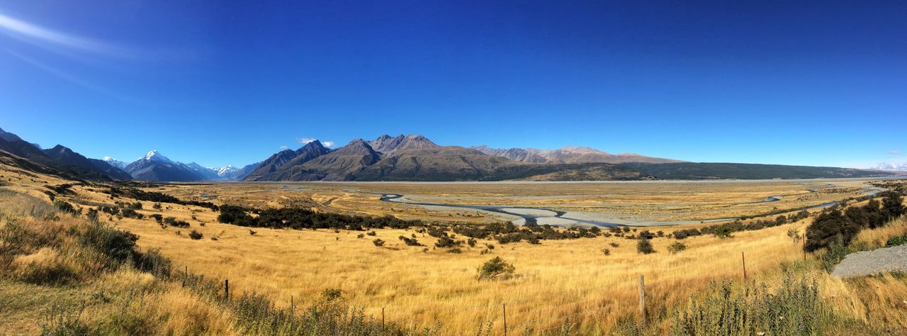 New Zealand EyeEmNewHere Scenics - Nature Sky Landscape Tranquil Scene Environment Tranquility Mountain Beauty In Nature Blue Land Clear Sky Nature Non-urban Scene Day Idyllic No People Mountain Range Copy Space Field