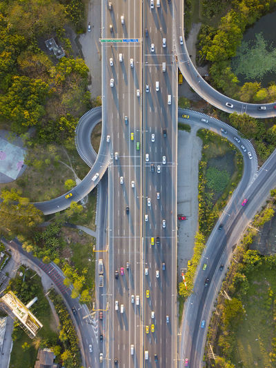 Drone  Rush Hour Aerial View Architecture Bridge - Man Made Structure Built Structure Car City Connection Day Highway Land Vehicle No People Outdoors Road Street Top View Transportation Tree