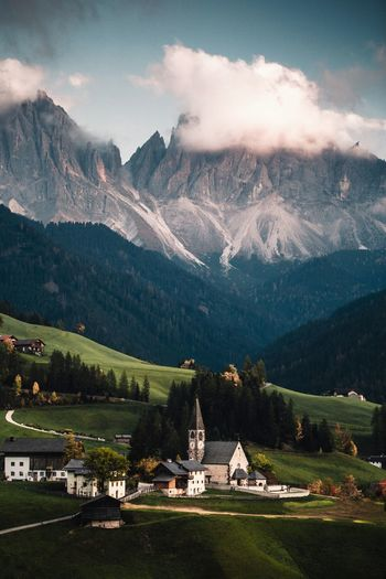 Mountain Architecture Built Structure Sky Building Exterior Mountain Range Building Cloud - Sky Beauty In Nature Church Santa Maddalena Dolomites, Italy Nature Sunset Landscape Travel Destinations Mountain Peak Grass Outdoors Scenics - Nature Environment Day Land Beauty In Nature Beautiful