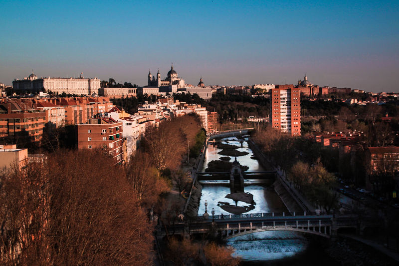 Almudena Cathedral Architecture Building Exterior Built Structure Catedral De La Almudena Check This Out City Cityscape Clear Sky Connection Day EyeEm Gallery Madrid Manzanares Nature No People Outdoors Palacio Real De Madrid River Sky Water Flying High The Architect - 2017 EyeEm Awards