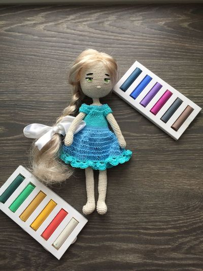 Кукла .Ручная работа. #doll #hendmade #amigurumi Wood - Material High Angle View Multi Colored Childhood Indoors  Blond Hair No People Day