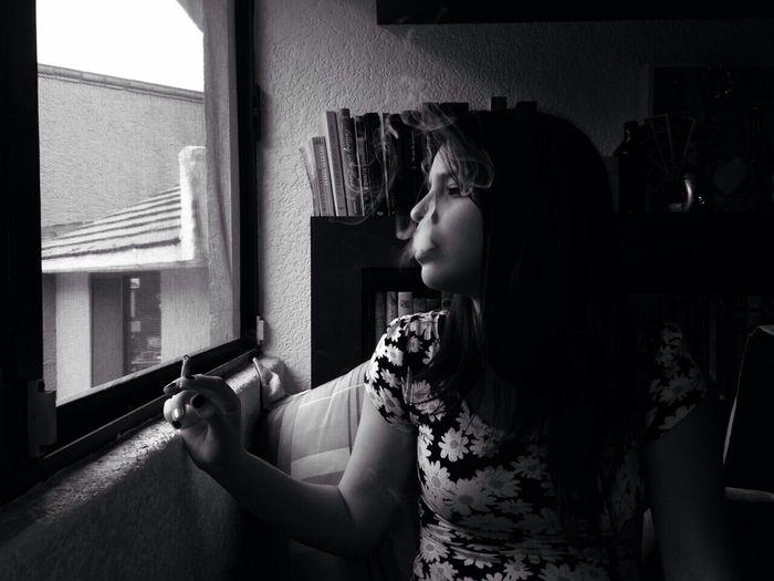 Smoke Cigarrete Teen Rebelious Landscape Grunge Horizon Girl