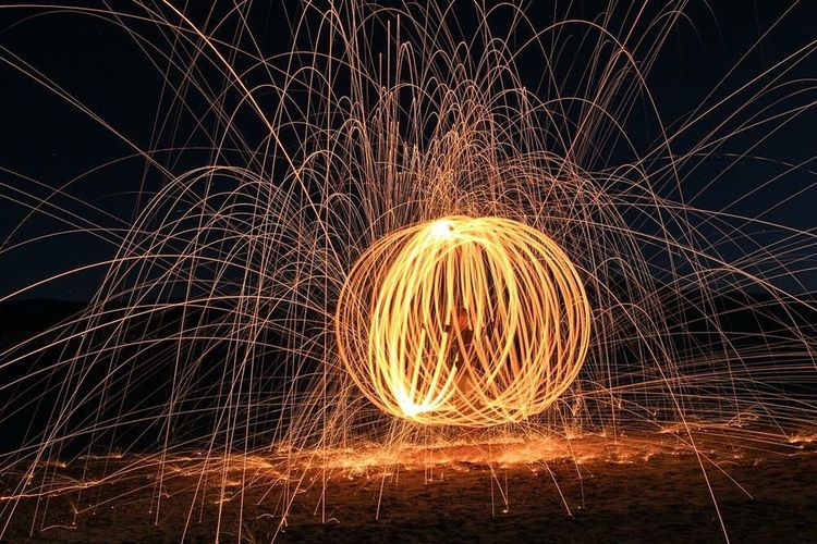 Steelwoolphotography Lake Jindabyne Night Sparks Fly
