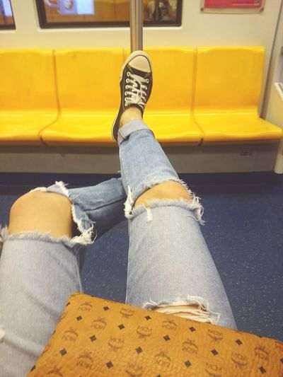 Low Section Human Leg Jeans Transportation Human Body Part Sitting One Person