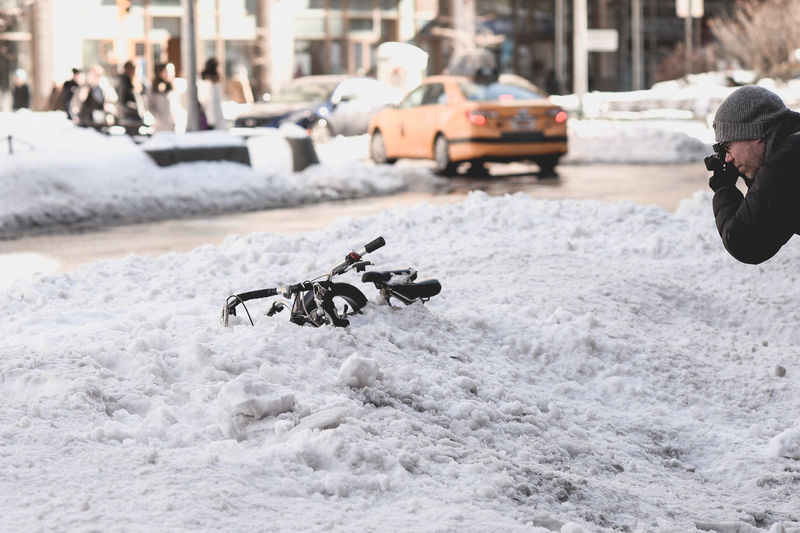 Bicycle Blizzard Of 201 Broadway New York Ci Photograp Sidewalk Street Photography Upper West S Winter Storm Jo
