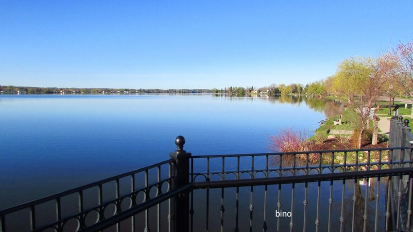 Out Shooting Clear Sky From The Foot Bridge Bright Blue Sky Lake Like Glass Tranquility Lake Cadillac Pure Michigan