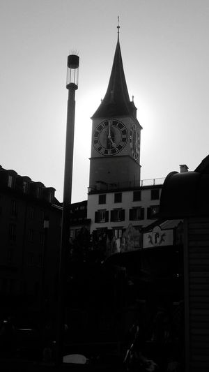 Monochrome Photography zurich, switzerland Church City Life Outdoors Blue Tourism Sky Travel Destinations Tower Tall - High Low Angle View Clear Sky