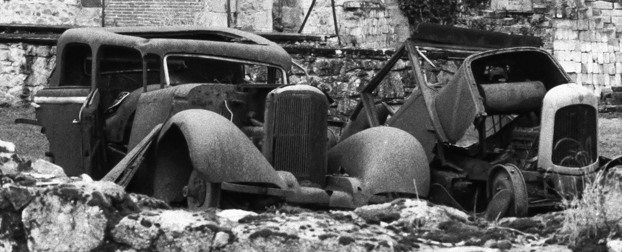 Rusting cars at Oradour sur Glane. Abandoned Bad Condition Close-up Destruction Detail Focus On Foreground Full Frame Indoors  Metal Monochrome Obsolete Old Part Of Pattern Ruined Rusty Selective Focus Textured  Wall Wood Wooden