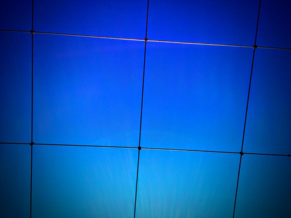 Blue Cable Clear Sky Low Angle View Vibrant Color Power Line  Full Frame Symmetry LINE Steel Cable Power Supply Suspension Bridge Day Repetition Blue Color In Front Of Geometric Shape Color Enhanced No People