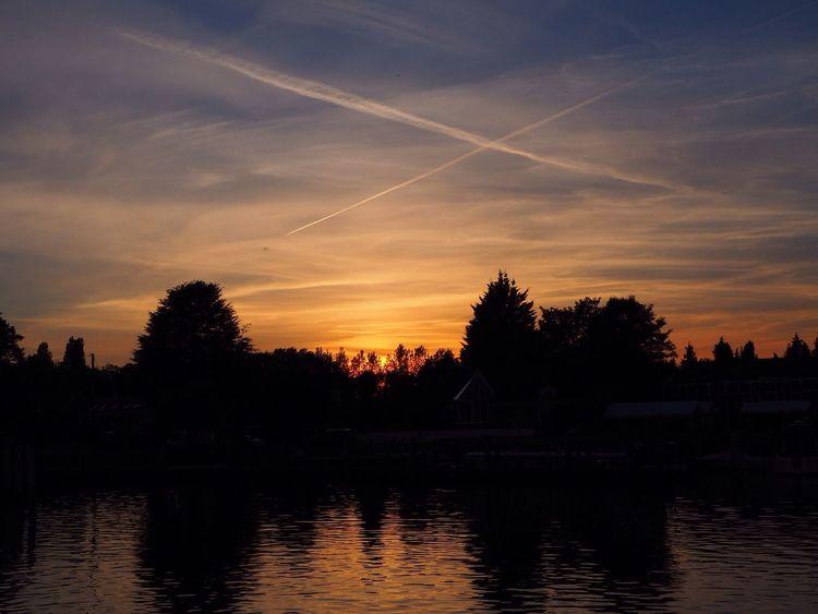 Sunset Silhouette Water Sky Vapor Trail Riverside Reflection