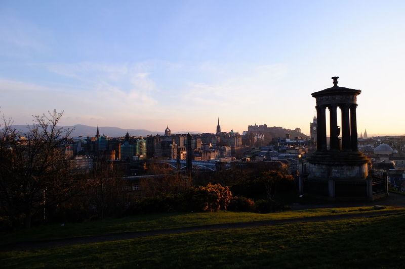 Silhouette Dugald Stewart Monument At Calton Hill In City Against Sky During Sunset