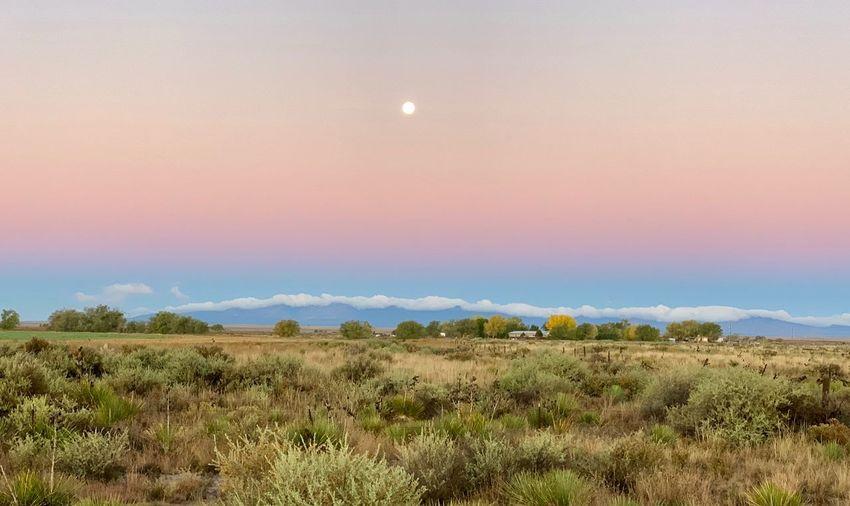 """""""New Mexico Morning"""" The full moon still hangs high over cloud crested and kissed mountains presenting a spectacular backdrop to a farm wrapped in Autumn's gold colors along State Highway 41 in Central New Mexico. New Mexico Skies New Mexico Photography New Mexico Fall Beauty Fall Autumn colors Autumn Early Morning Dawn Sunrise Mountains Farming Full Moon Beauty In Nature Sky Scenics - Nature Landscape Tranquility Tranquil Scene Agriculture Rural Scene Moon Field"""
