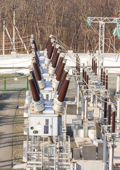 High angle view of electrical transformer