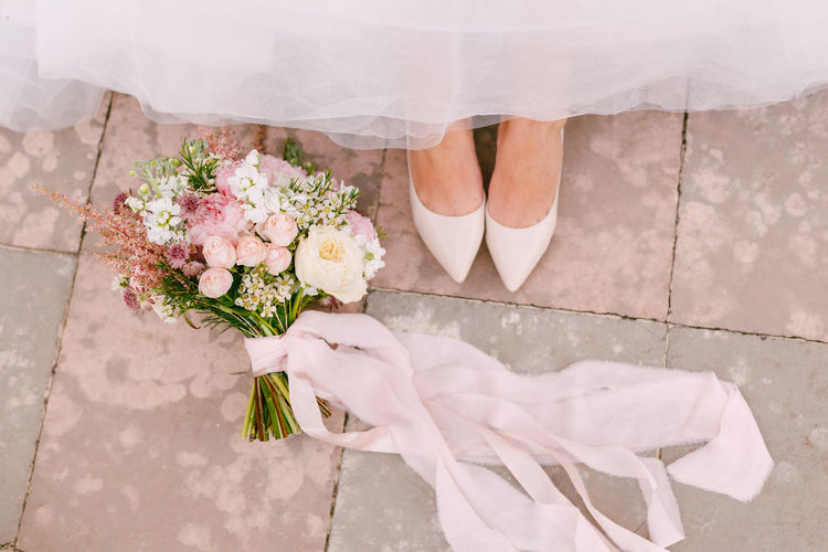 High angle view of flower bouquet on floor
