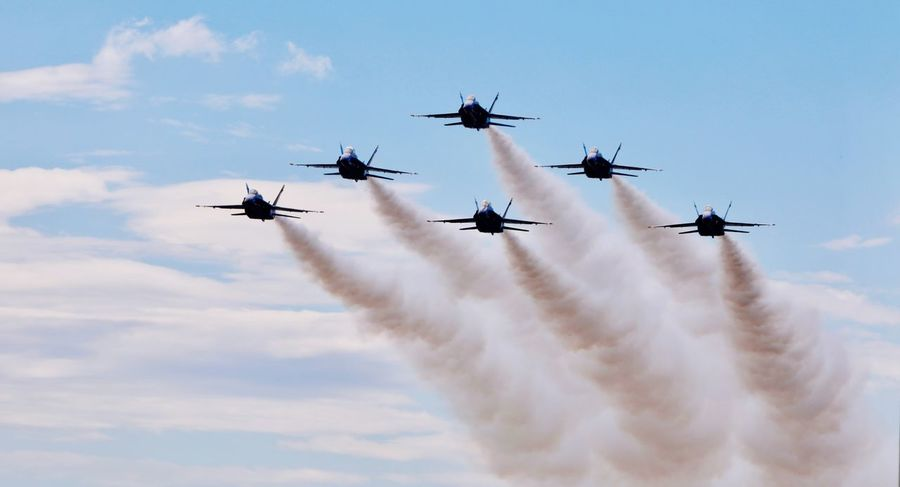 Airshow Speed Teamwork Sky Flying Low Angle View Cloud - Sky Airplane Air Vehicle Vapor Trail Military Airplane Fighter Plane Outdoors Transportation Day Motion Blue No People Military Air Force