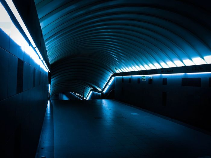 Interior Of Illuminated Underground Walkway