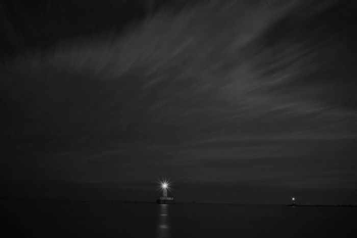 Day 1 of a week long black and white challenge i got on facebook. Water Night Reflection Scenics Sea Nature Tranquil Scene Beauty In Nature Tranquility Sky Outdoors No People Horizon Over Water Illuminated Lighthouse Chicago