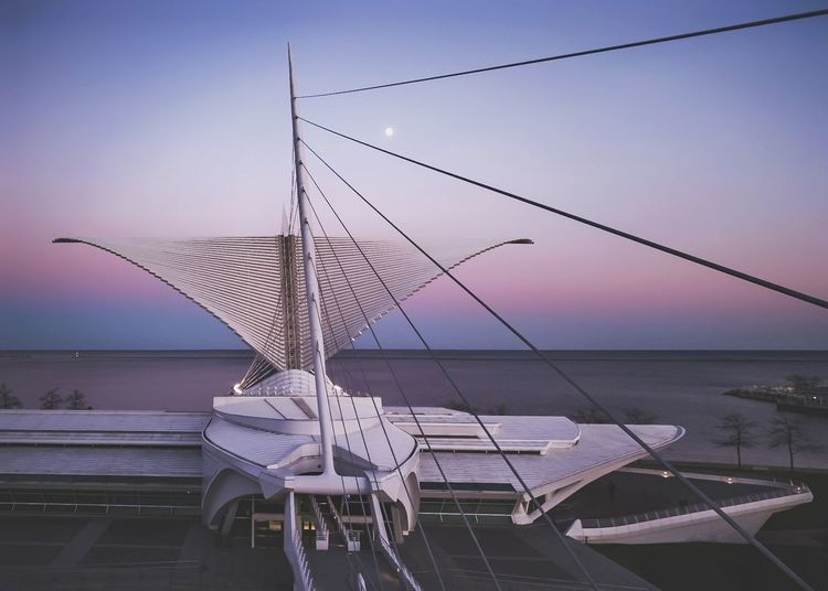 Calatrava Moon Thru Wire Sea Water Sunset Tranquility Pink Color Sunrise_sunsets_aroundworld Dronephotography Calatrava Architecture Mke_illgrammers Drone  Landscape Waterscape Horizon Mke Milwaukeesbest Wisconsin Life Wisconsin Milwaukee MKE 🏙 Nature City Horizon Over Water Symmetry Droneshot