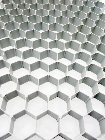 Abstract Backgrounds Brushed Metal Close-up Full Frame Gray Hexagon Indoors  Metal Modern No People Pattern Shape Silver Colored