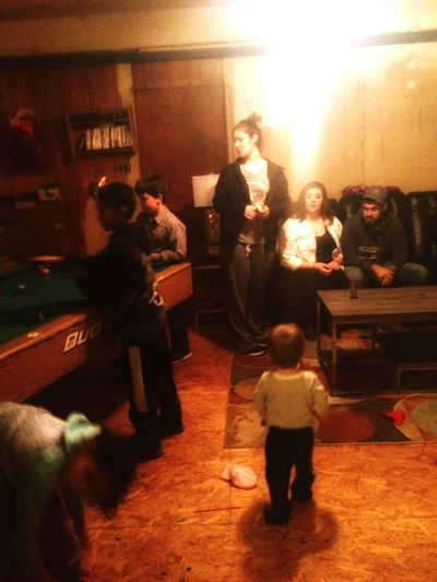 Indoors  Standing People Adult Pool Cue Happiness The Holidays FamilyTime Family Togetherness Fun Children Playing Childhood