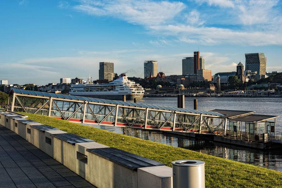 CruiseShippBraemar Architecture Blue Braemar Building Built Structure Capital Cities  City City Life Cityscape Cloud Cloud - Sky Cloudy Cruise Ship Day Elbe River Hamburg Harbour Modern Morning Light No People Outdoors Residential District River Sky Tourism Travel Destinations